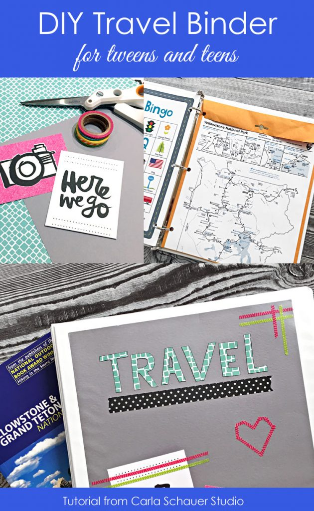 Collage of diy travel binder and supply photos with text for pinning.