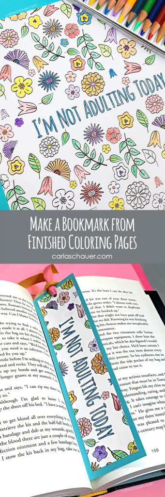 Make a bookmark from coloring pages instead of leaving them sitting in the book. Great idea! Instructions from carlaschauer.com