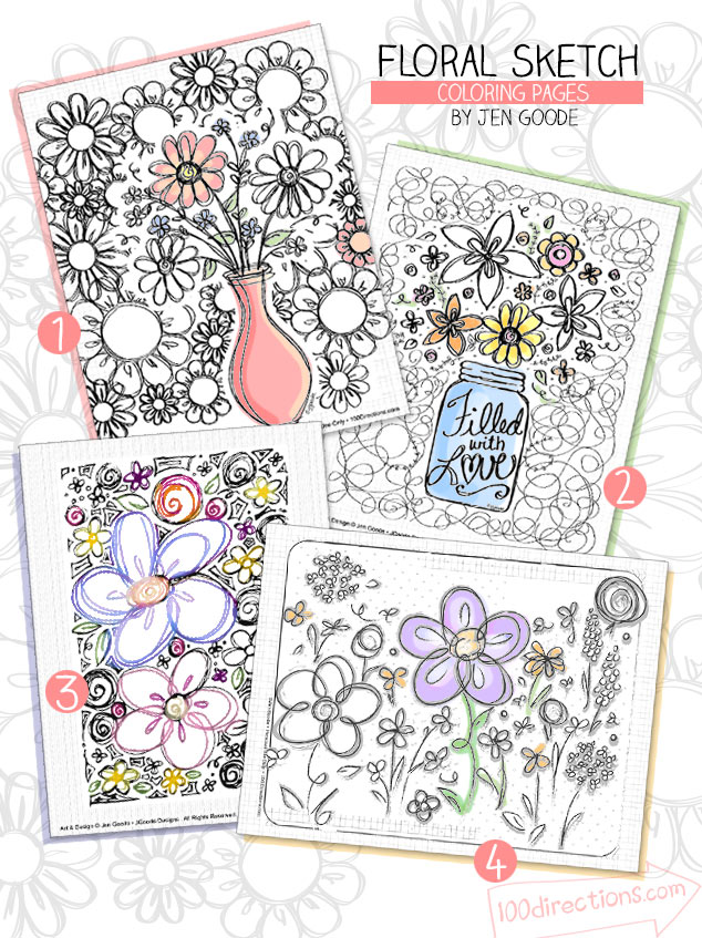Free coloring pages--tweens can use as a boredom-buster when traveling. Ideas from Carla Schauer Designs.