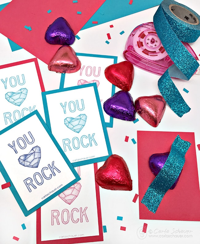 Printable class valentine cards with candy. Super cute and the printables are free. From Carla Schauer Designs.