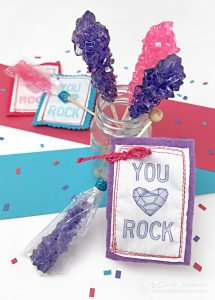 "Making these with fabric scraps would be adorable, and use my fabric scrap stash!""You Rock"" Printable Valentine Tags from Carla Schauer Designs."