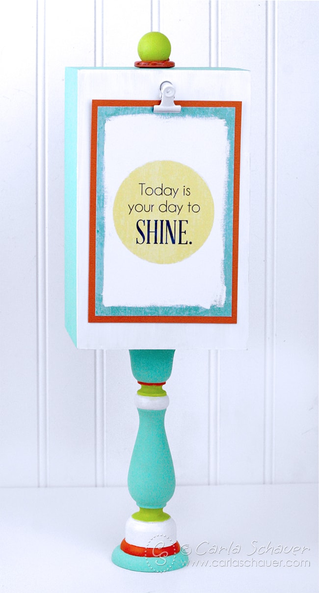Make a display stand for printables. The clip lets you change out the printables easily. So convenient! Tutorial and free printables from carlaschauer.com