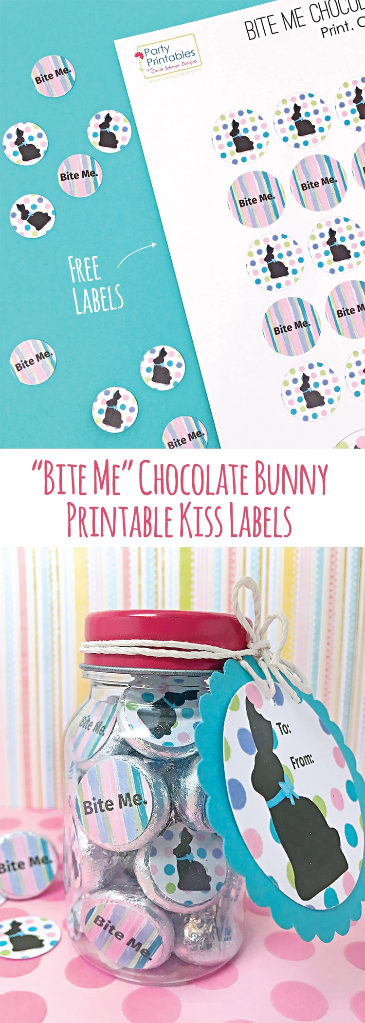 "Funny Chocolate Bunny Printables. ""Bite Me"" candy labels would be hilarious for my BFF! free labels from carlaschauer.com"
