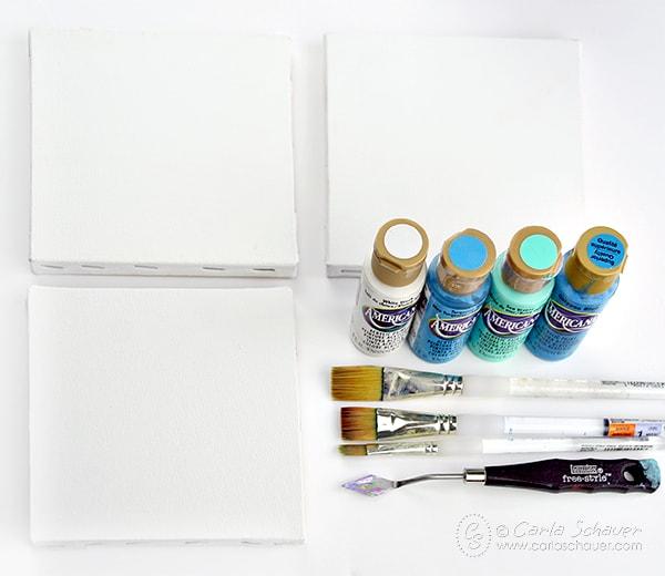 Supplies to make beachy home decor canvas art. Tutorial from Carla Schauer Designs
