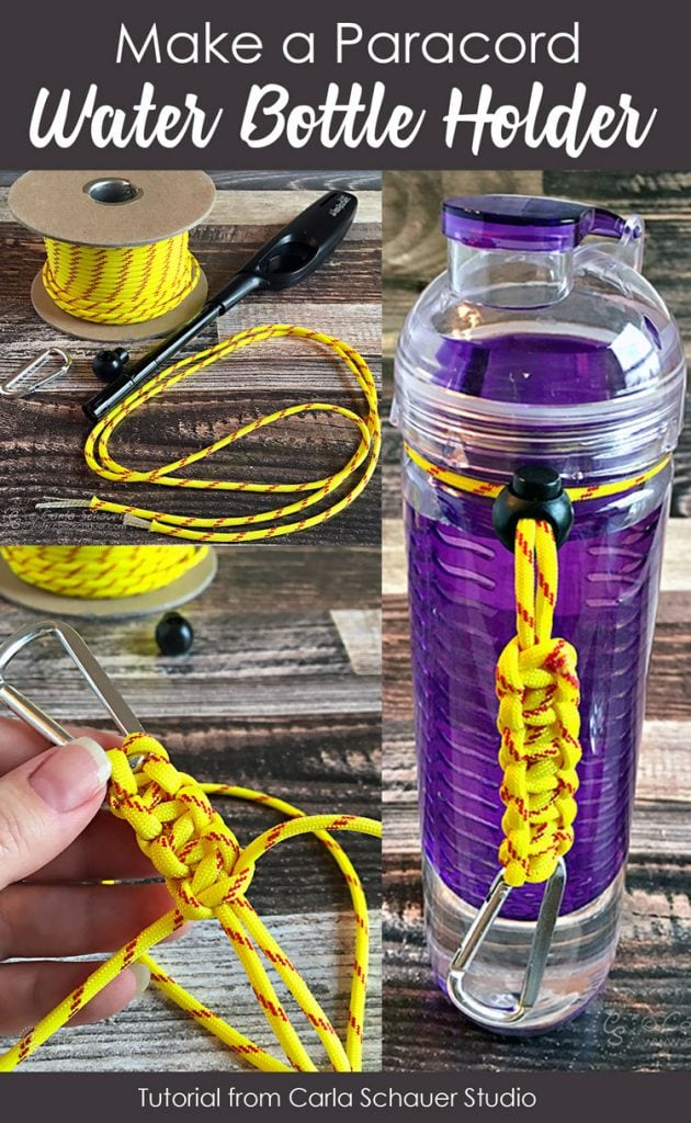 Collage of yellow paracord bottle holder instruction photos, on wood table.