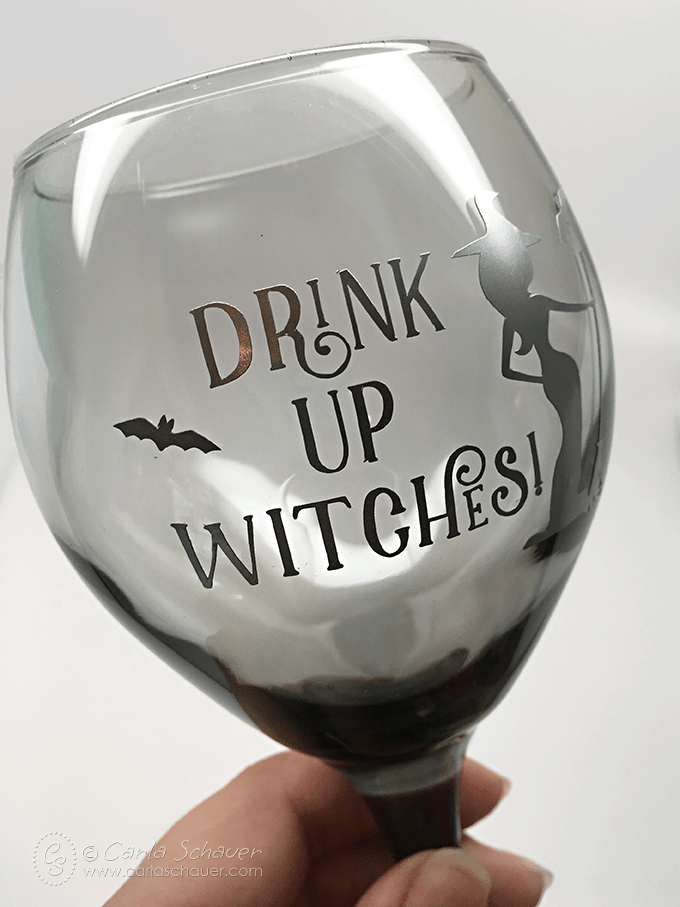 Make custom Halloween glasses with vinyl and a free snarky cut file from carlaschauer.com