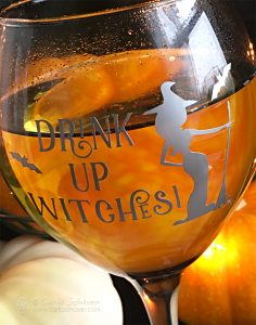 DIY Halloween Wine Glasses with Vinyl