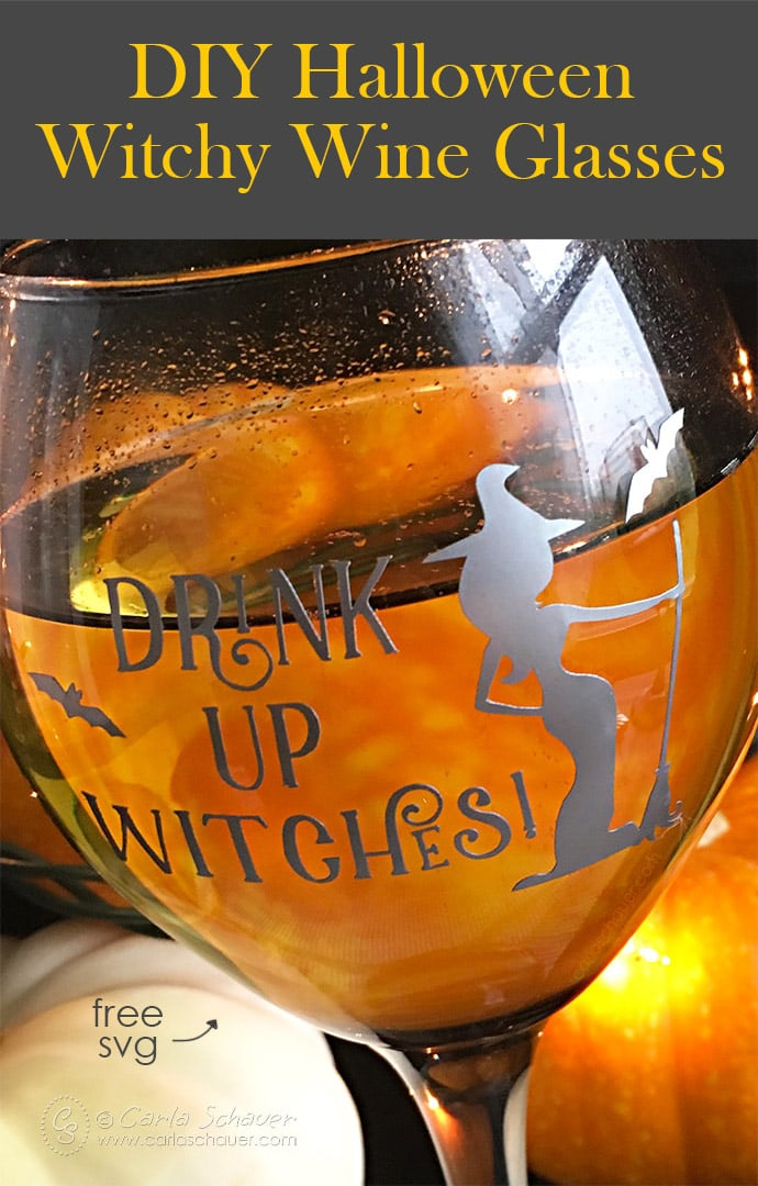 Clear wine glass with Halloween witch image on glowing orange pumpkin background. Includes text for pinning.