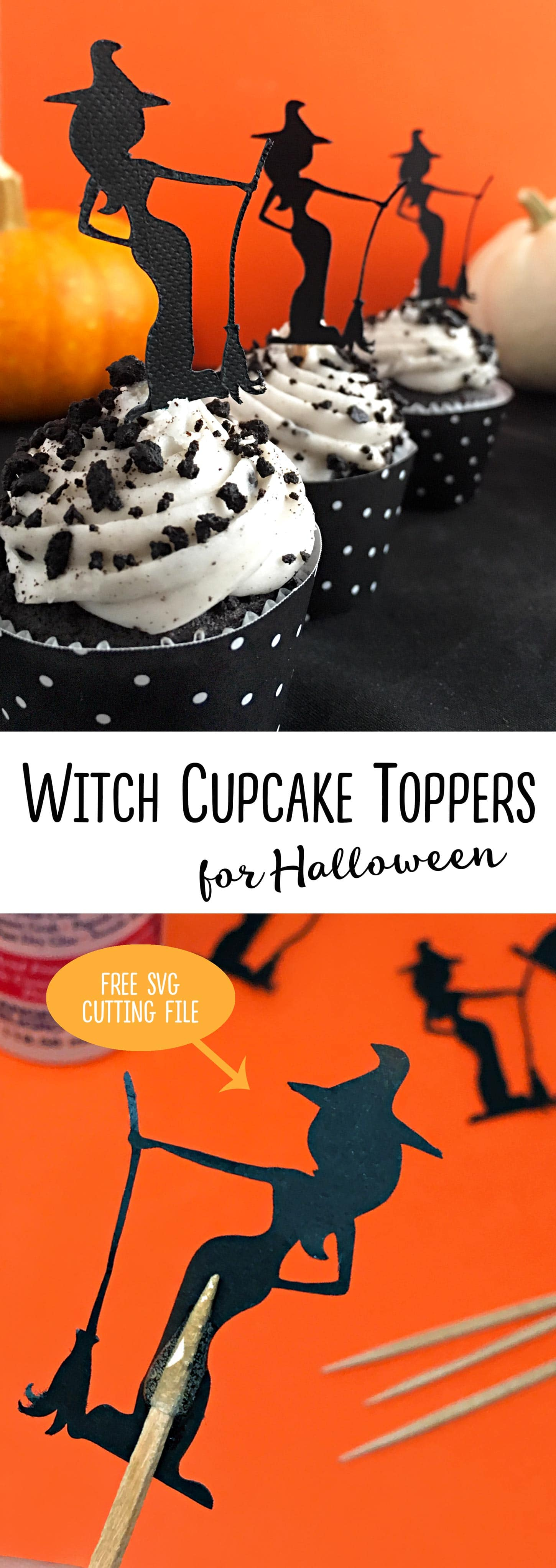 These are adorable!   Make Halloween Witch Cupcake Toppers for girls' night in. Free witch svg cut file from carlaschauer.com