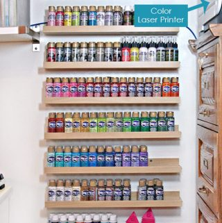 Vertical Acrylic Paint Storage organization for small craft spaces. | Carla Schauer Studio, carlaschauer.com