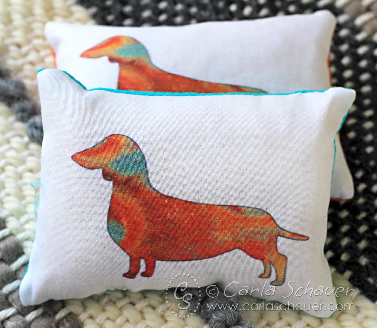 So cute! These would make an adorable teacher gift! Quirky Weinerdog reusable pocket hand warmers. | Carla Schauer Designs