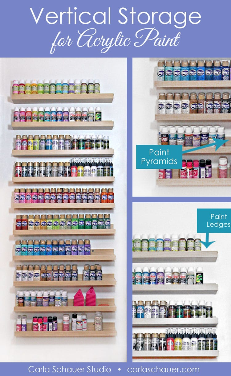 Small acrylic paint bottles on 10 small shelves.