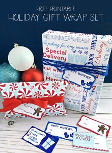 Printable Holiday Gift Wrap Set