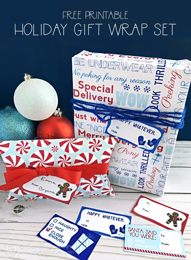 Wrap small gifts with a fun Free Printable Holiday Gift Wrap Set. Pillow box, wrapping sheet, and gift tags to print from home. | Carla Schauer Studio
