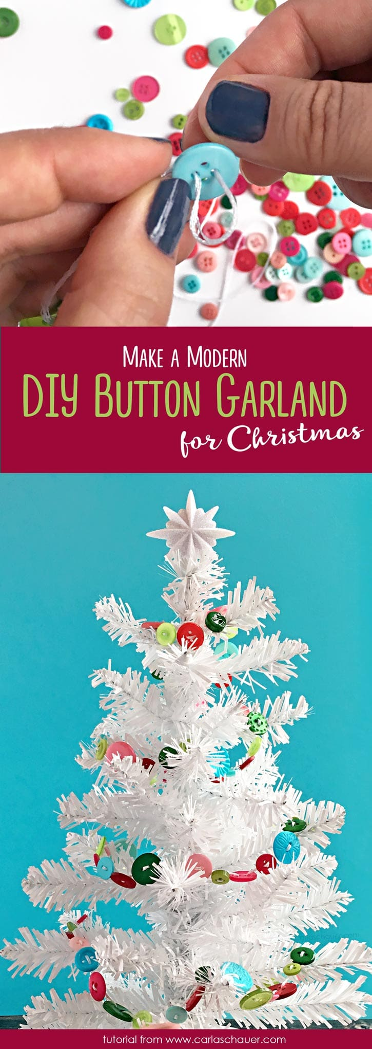 I love that this garland is so cute and modern! DIY Christmas Decoration- a quick and easy colorful button garland . | Tutorial from carlaschauer.com