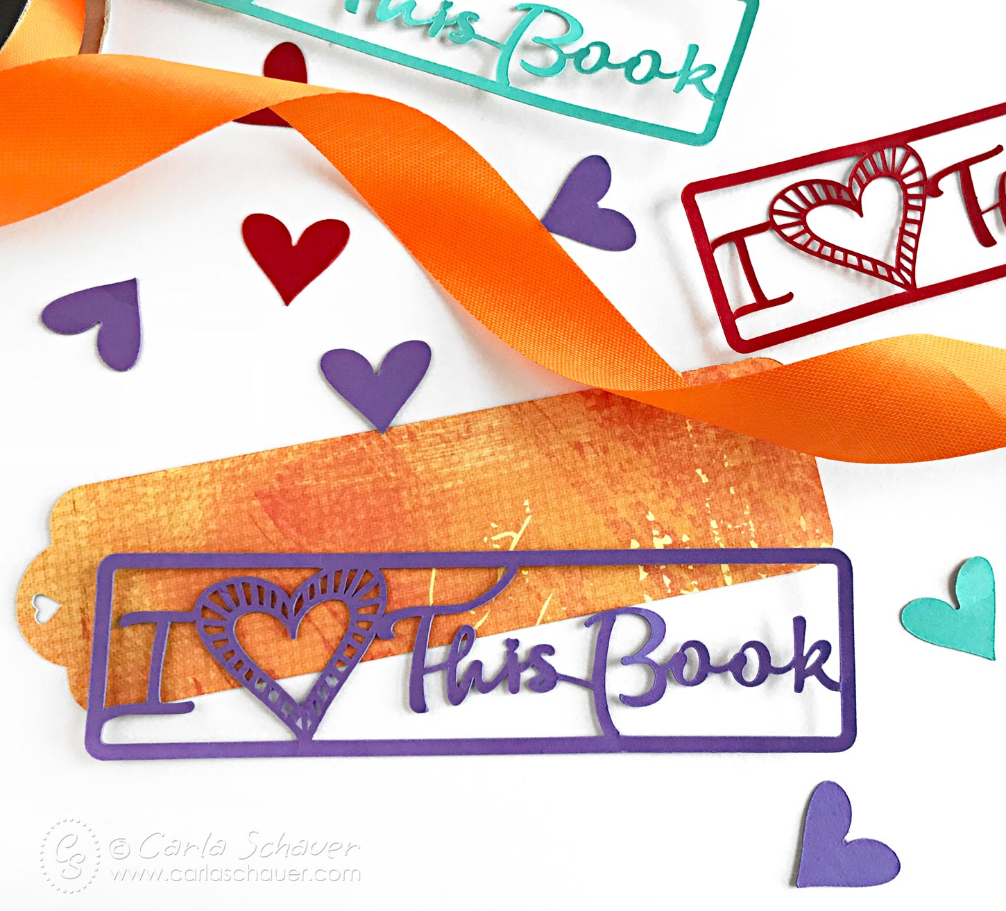 Free DIY Valentine Bookmark Cut File from Carla Schauer Studio.| carlaschauer.com