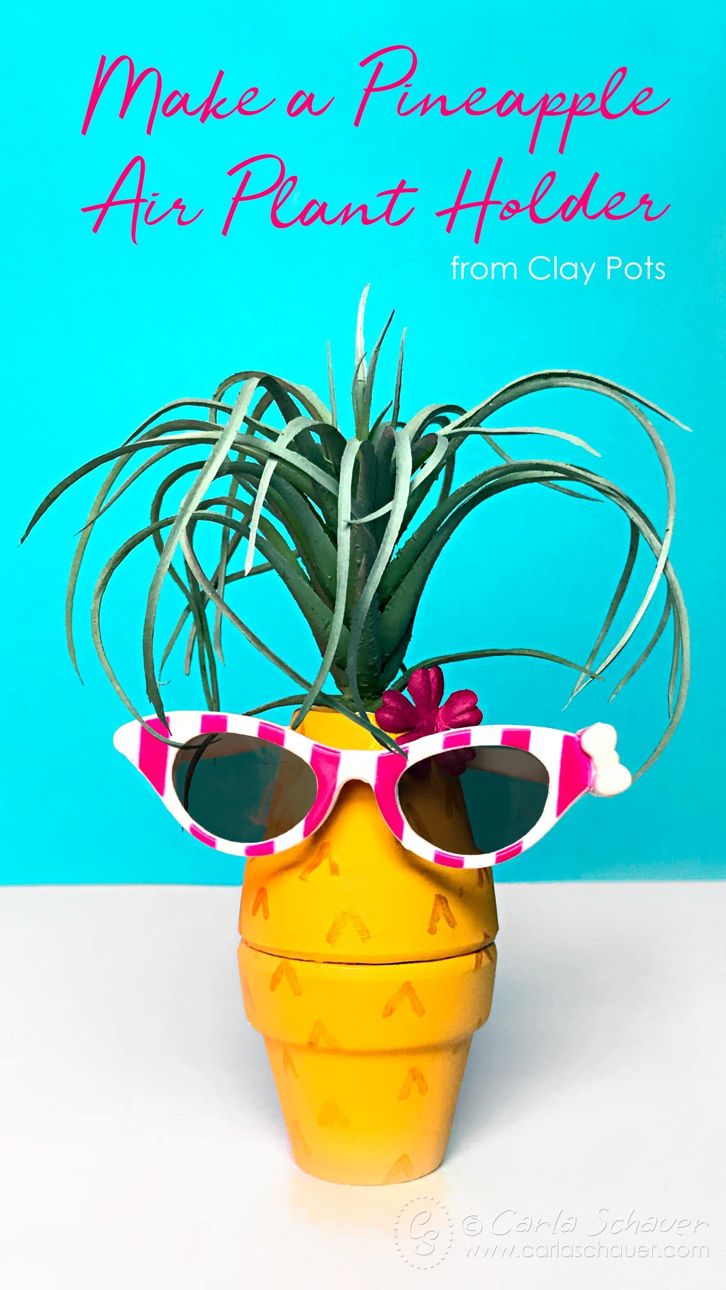 Seriously adorable summer craft! Make a Pineapple Air Plant Holder from clay pots. | Carla Schauer Designs #claypots #pineapplecraft #pineappledecor #airplant #quickcraft