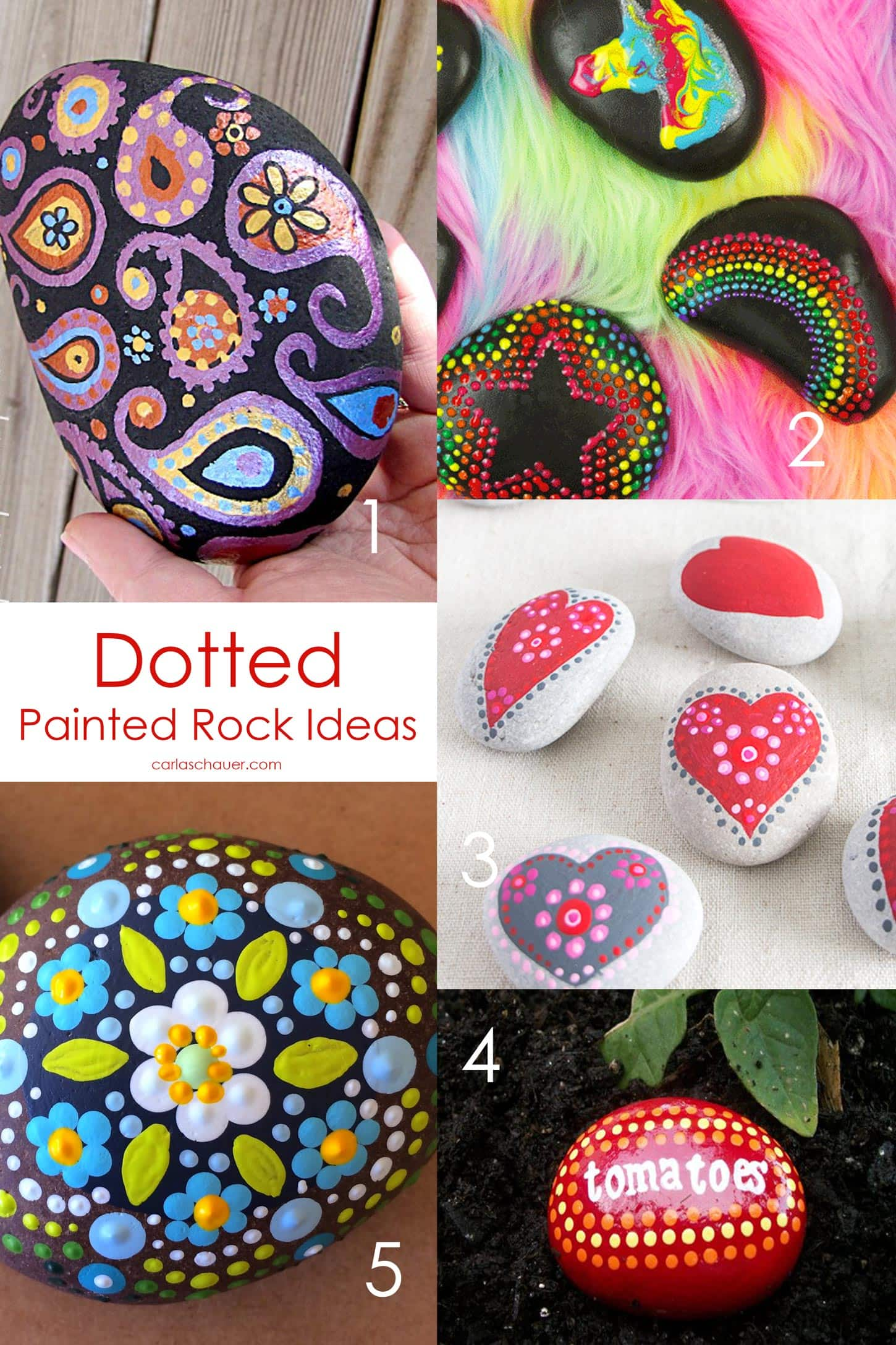 Dotted Easy Rock Painting Ideas - 20+ Easy Painting Ideas