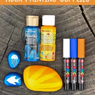 I was looking for this! | The ultimate guide to the best supplies for painting rocks. Paints, pens, tools, sealers, and more. | Click for the entire guide at carlaschauer.com #easypaintedrocks #paintedrockideas #paintedrocks #rockpainting #decoratedrocks #quickcrafts #teencrafts #tweencrafts #rockpaintingsupplies #paintingsupplies #craftsupplies