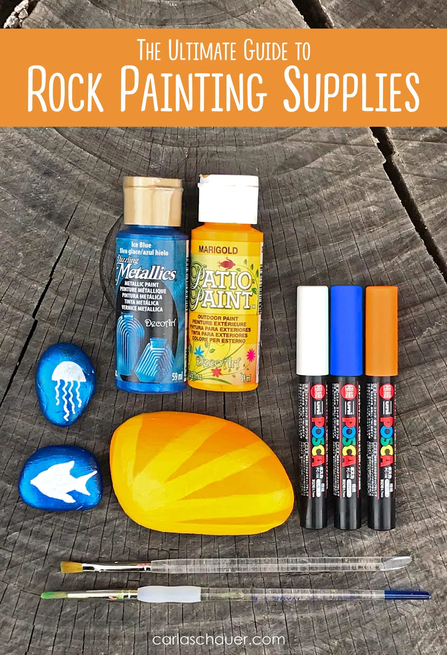 I was looking for this! | The ultimate guide to the best supplies for painting rocks. Paints, pens, tools, sealers, and more. | Click for the entire rock painting supplies guide at carlaschauer.com #easypaintedrocks #paintedrockideas #paintedrocks #rockpainting #decoratedrocks #quickcrafts #teencrafts #tweencrafts #rockpaintingsupplies #paintingsupplies #craftsupplies