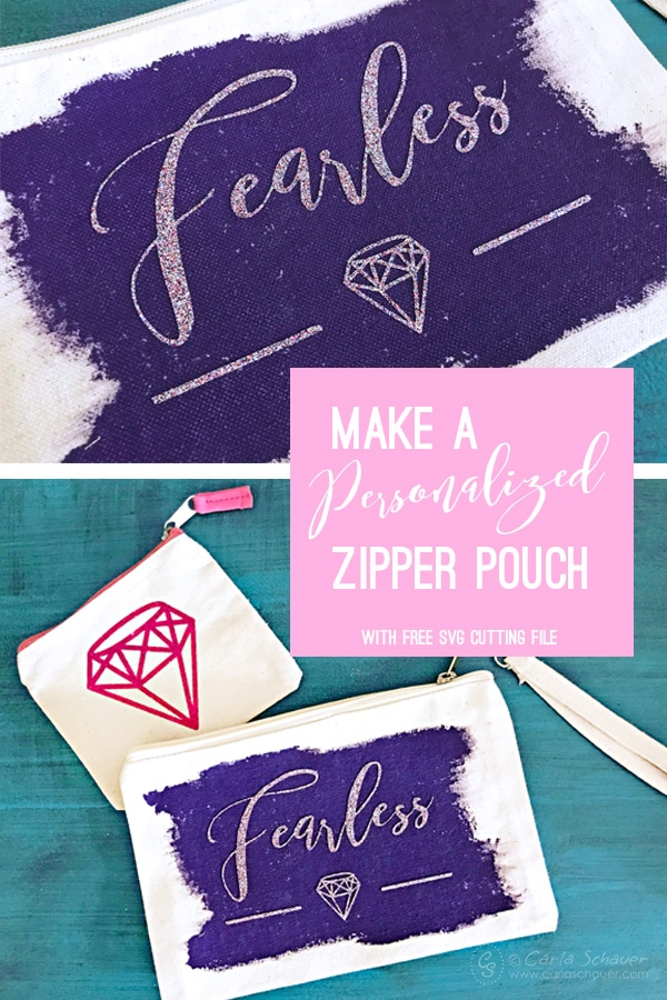 Love this free svg design! Make customized zipper pouches with glitter vinyl. Includes free svg cutting file too! | Carla Schauer Designs #freesvg #svgcuttingfile #freecutfile #zipperpouch #wristlet #makeupbag #cosmeticbag #pencilpouch #backtoschool #cottoncanvas #cricut #cricutsvg