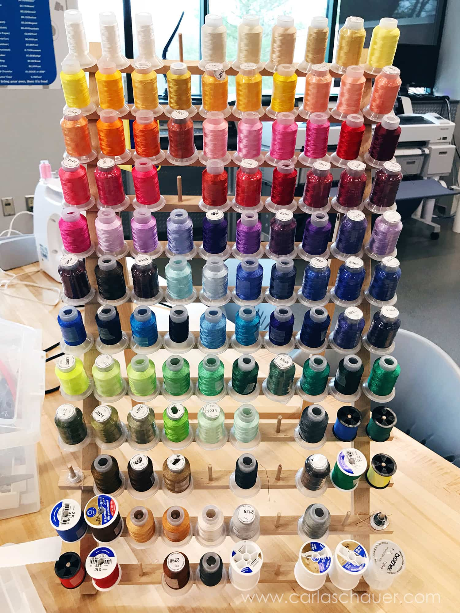 Choose from a colorful variety of embroider threads to match your project.