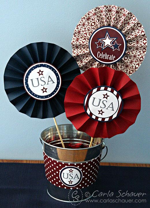 July 4th medallions in metal bucket.
