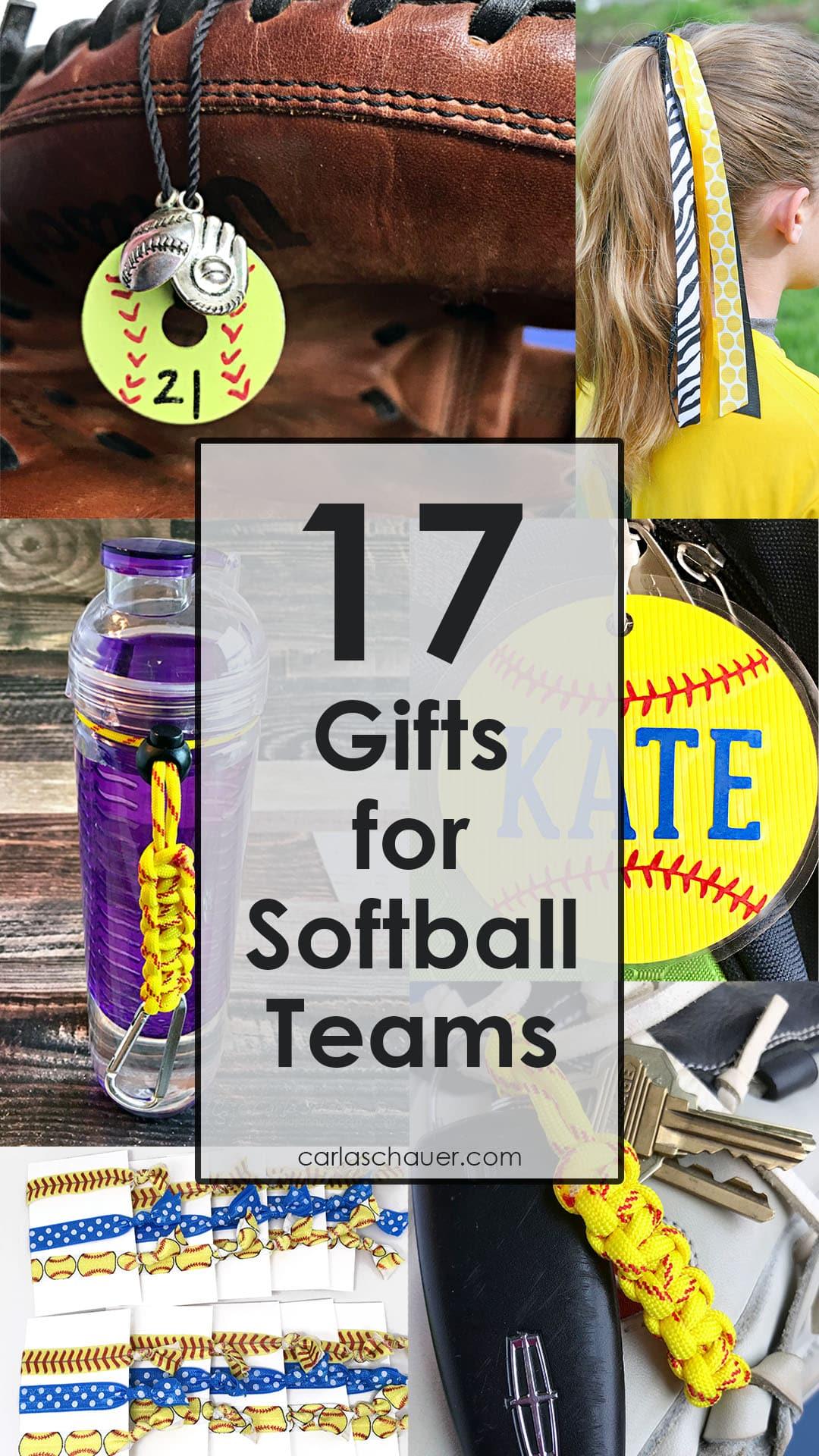A variety of softball team gift ideas.