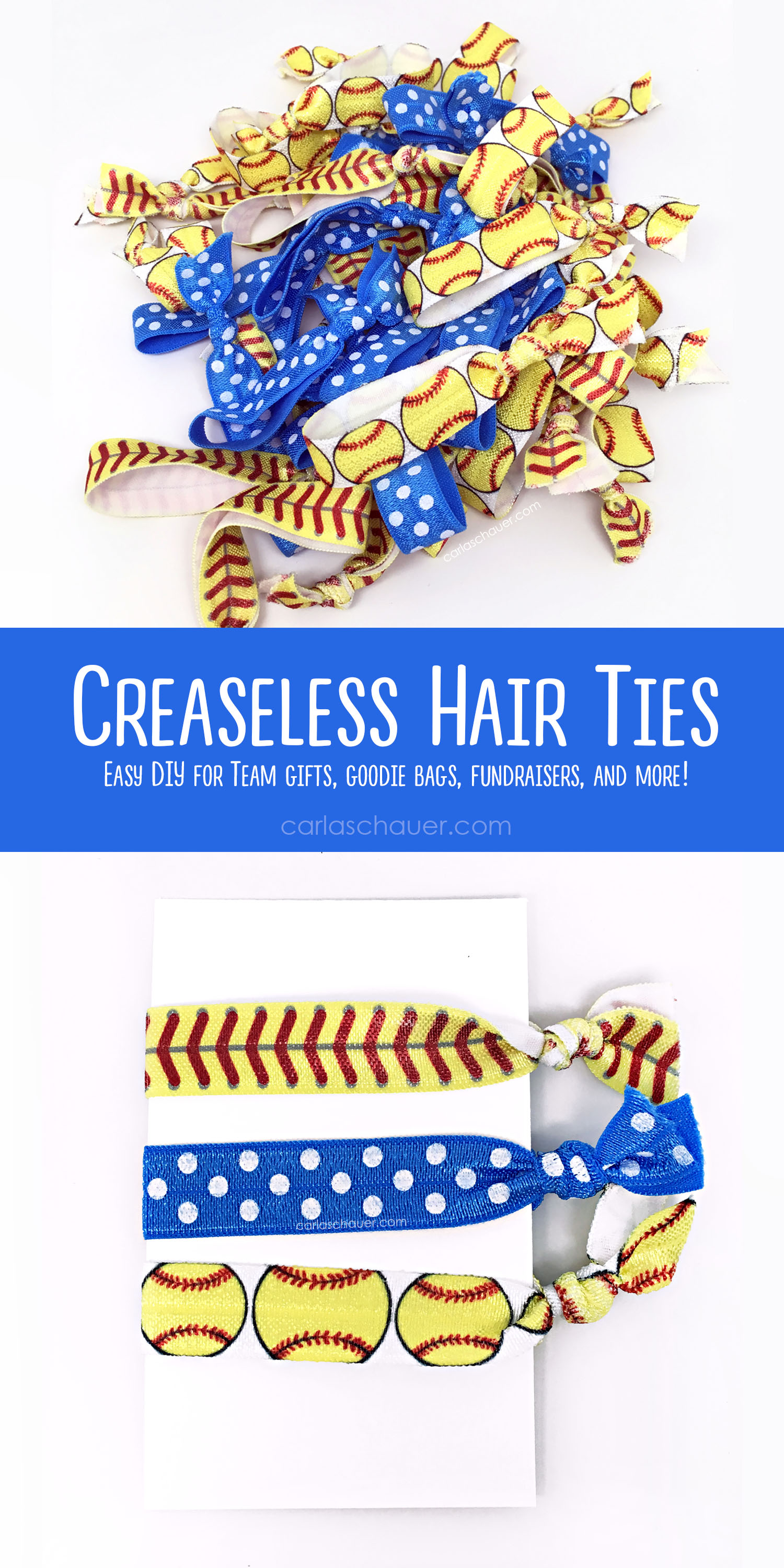 Softball no-crease hair ties pin image.