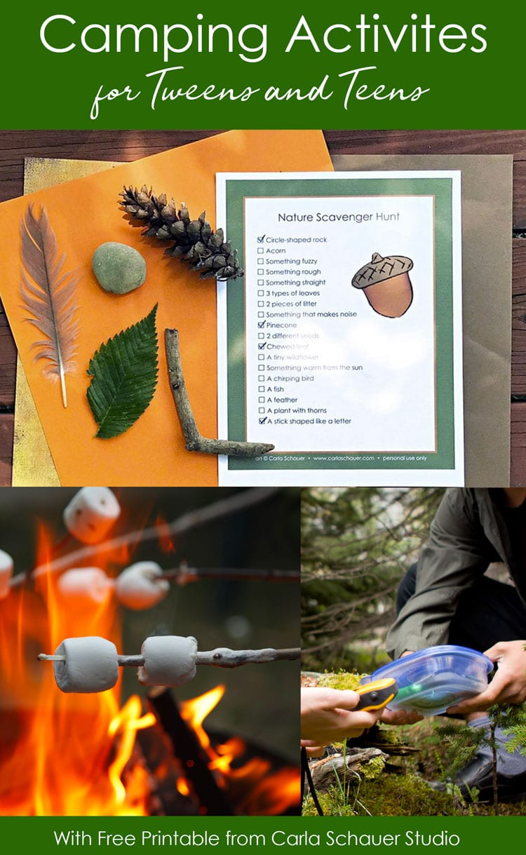 3 camping activity images in collage with text for pinning.