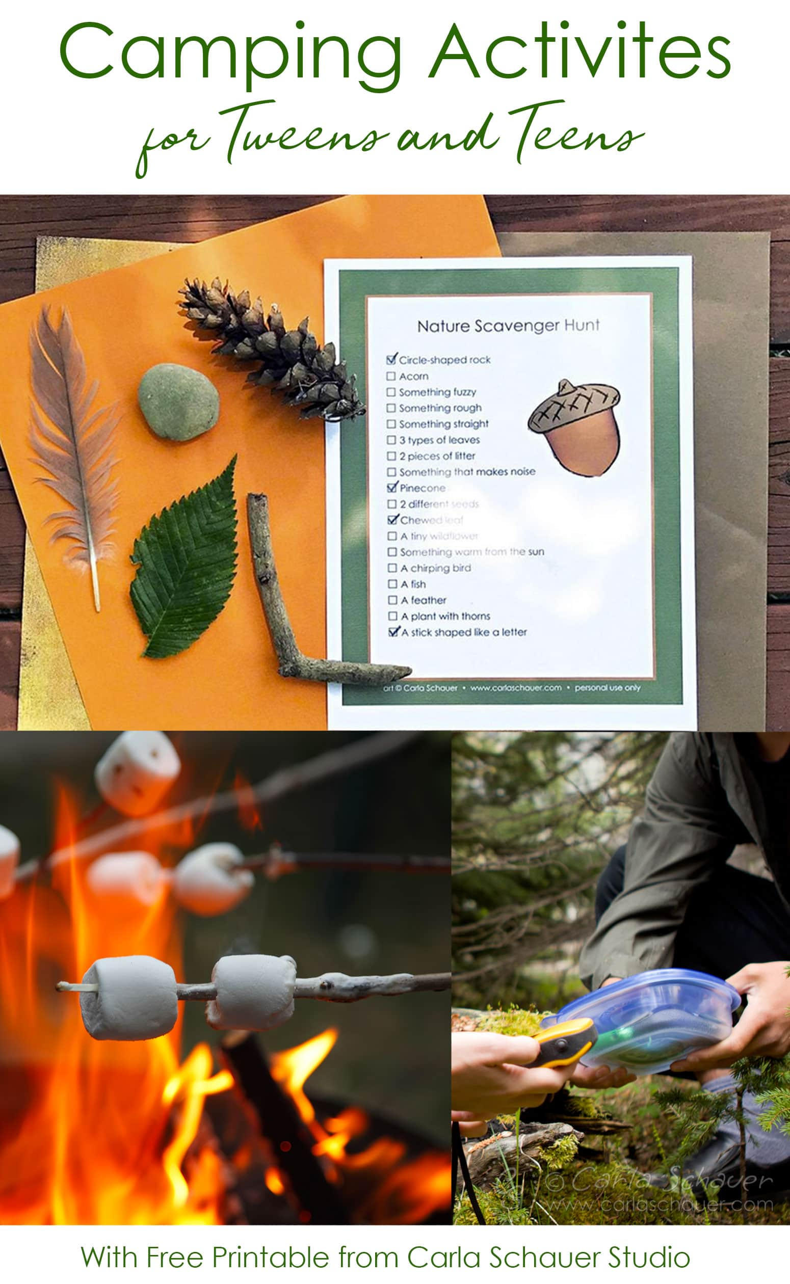 3 tween camping activity images in collage with text for pinning.