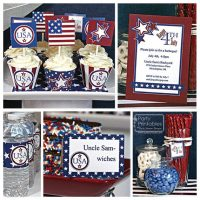 July 4th Patriotic Party Kit, Printable, Editable. USA Stars & Stripes invitation included. DIY Instant Download Print-at-home Kit