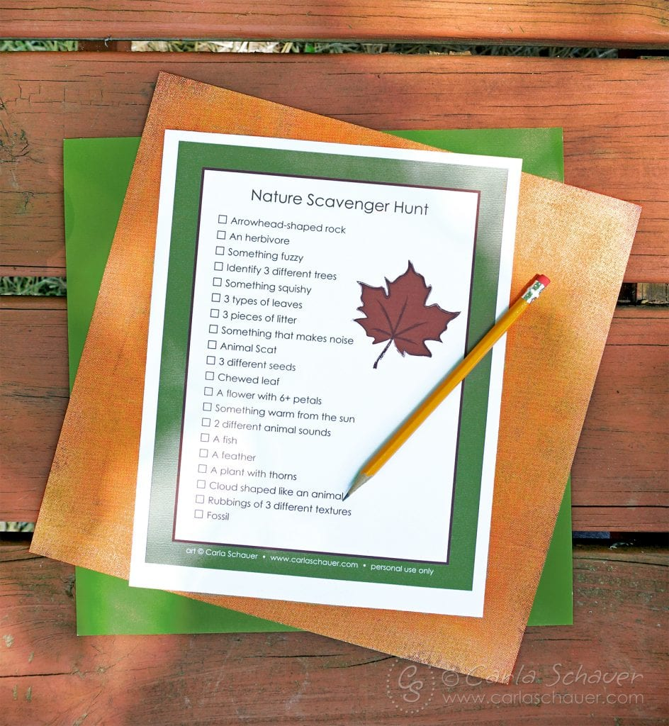 Printed Nature Scavenger Hunt for Teens layered on colored paper.