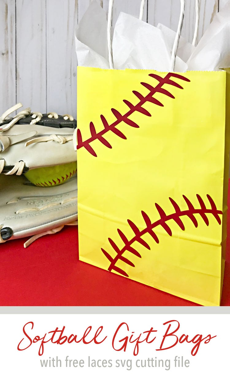 Yellow and red softball gift bag in front of softball glove.