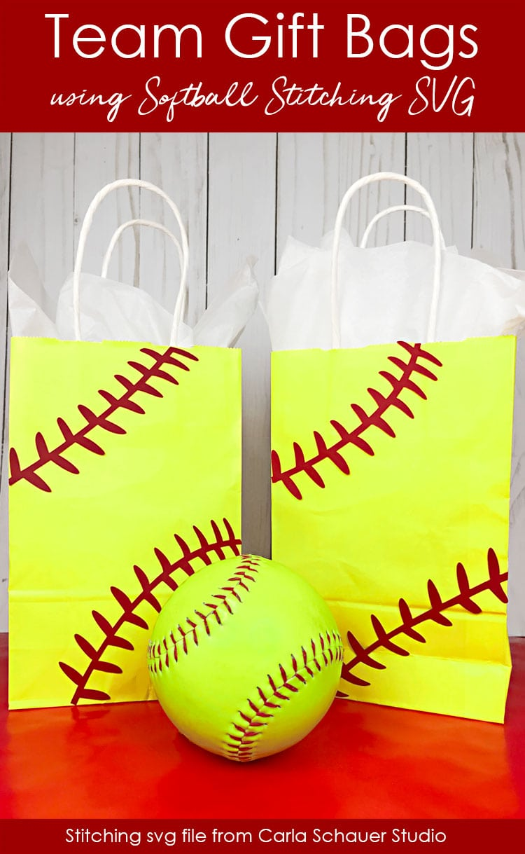 Softball laces svg cuts on yellow gift bags with softball.