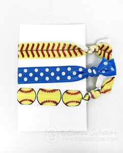 Display Softball Hair Ties on Cardstock for Gift Giving.