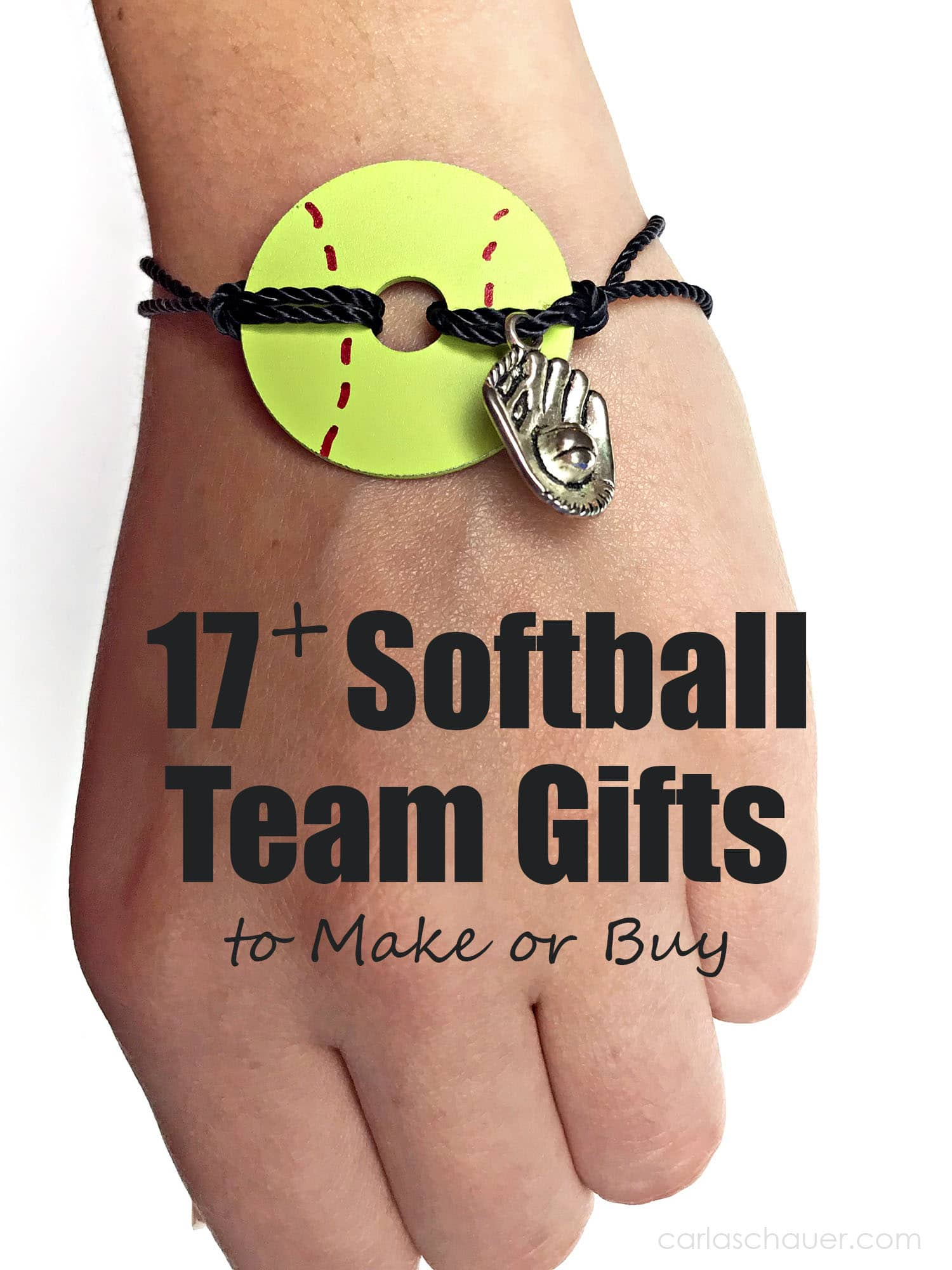 Photo of Softball Washer Bracelet on wrist with text for pinning softball gifts for players article..
