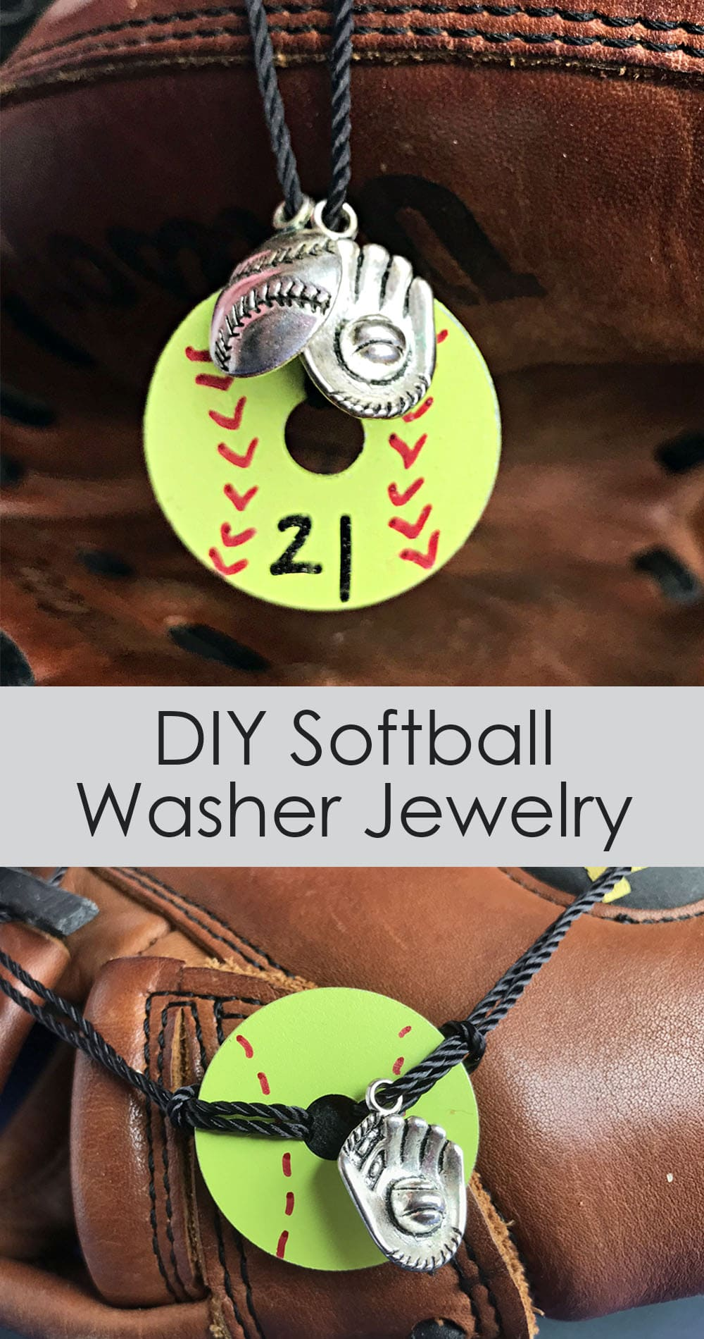 Display of Softball Washer Jewelry