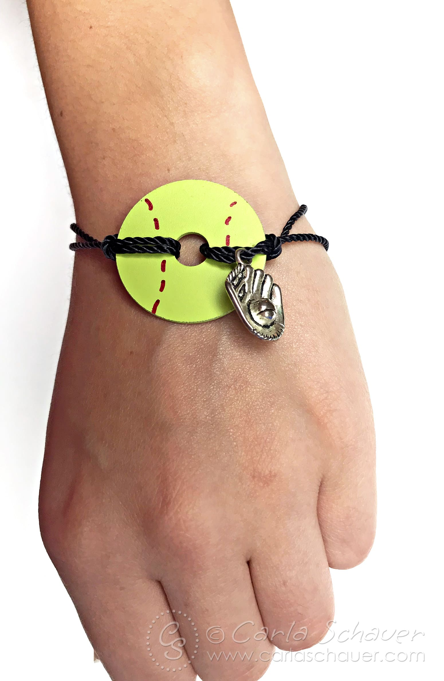 Softball bracelet made from washer, worn on wrist.