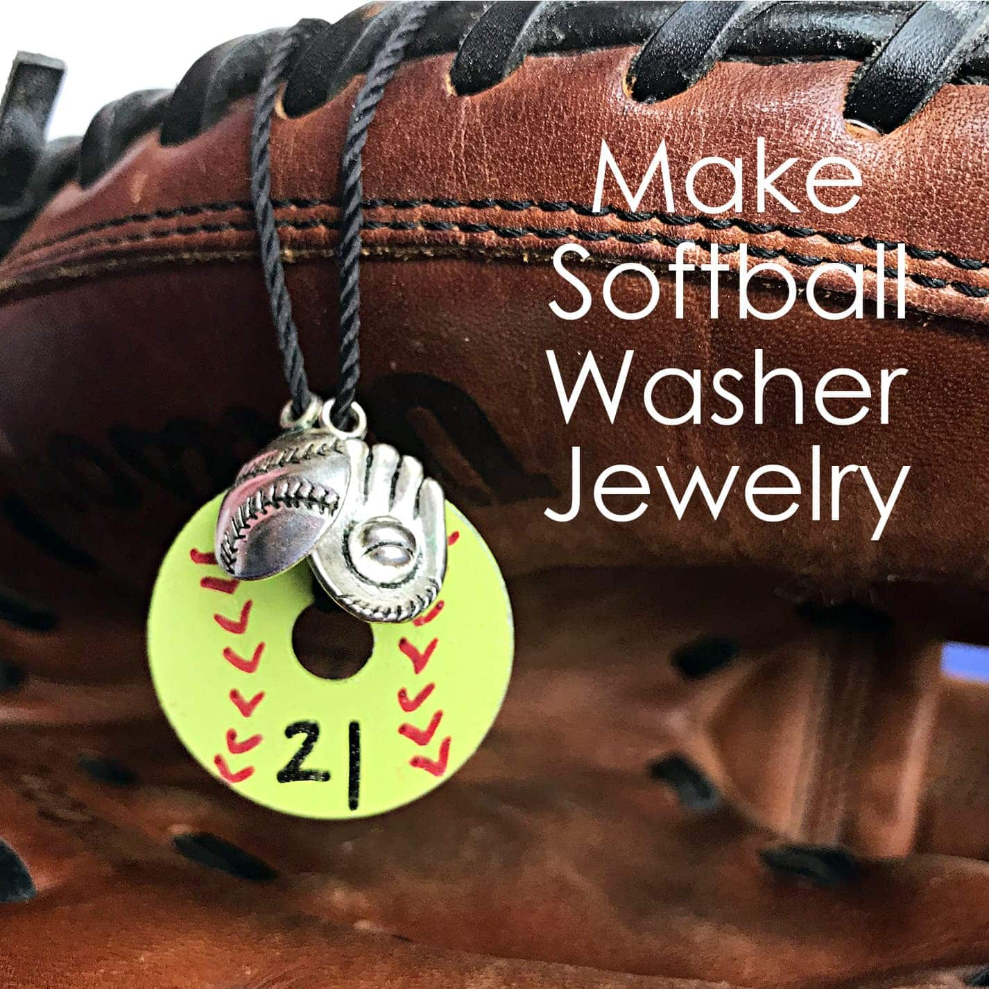 Softball Necklace made from washer hanging from softball glove.