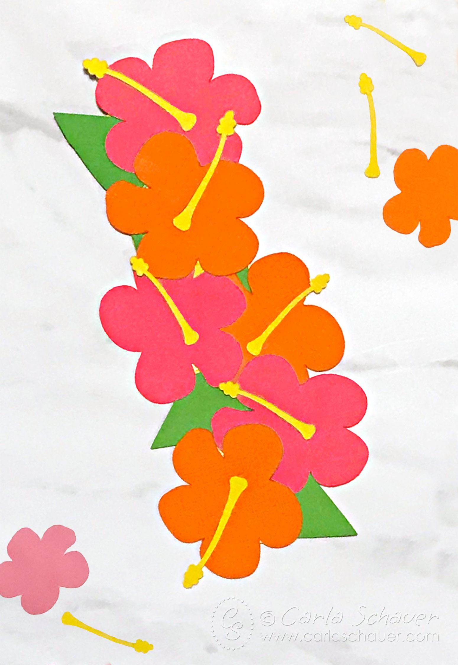 Pink and orange hibiscus flowers arranged to make summer floral bookmark on marble background.