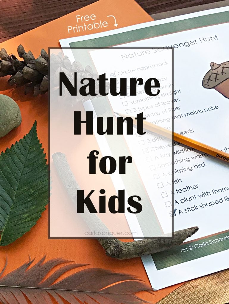 Nature Hunt for Kids image with text ovrlay for pinning.