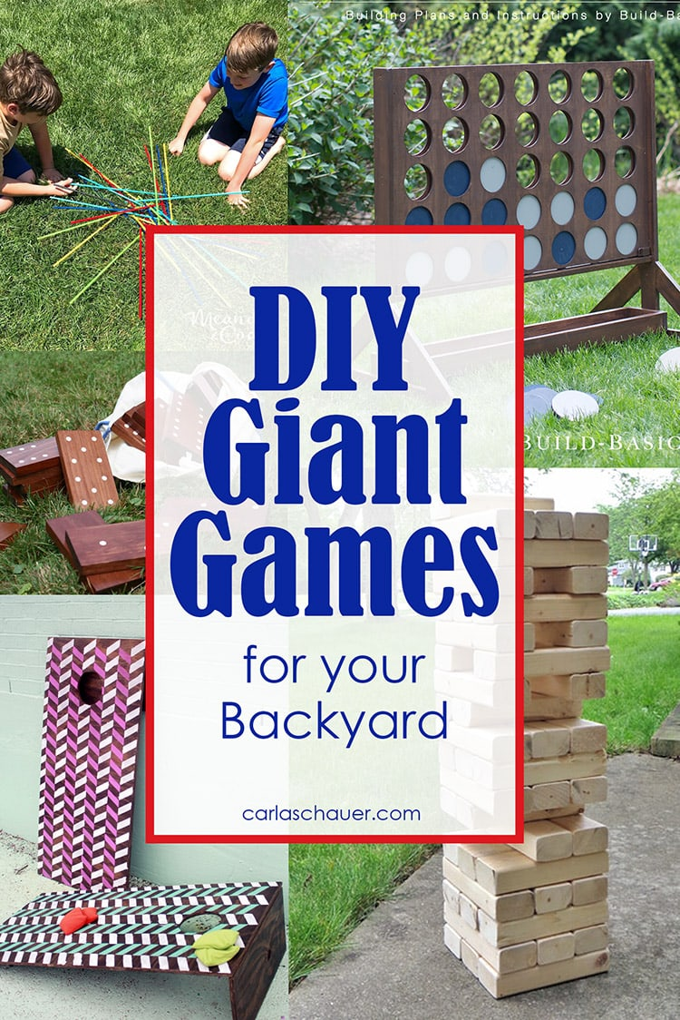 Collage of diy giant backyard games with text overlay.