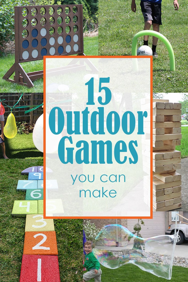 Collage of diy outdoor games with text overlay.