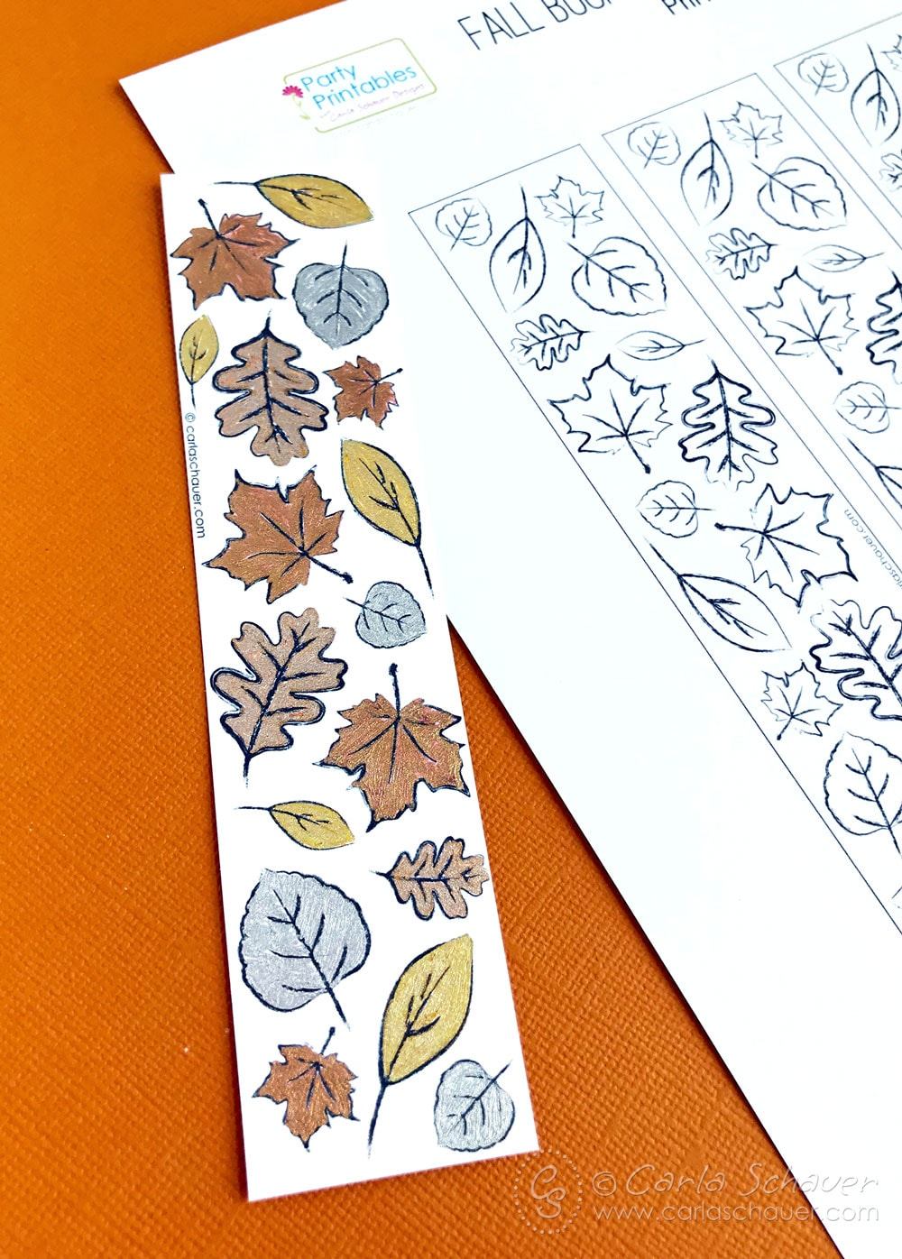 Finished printable fall coloring bookmark on printed bookmark sheet.