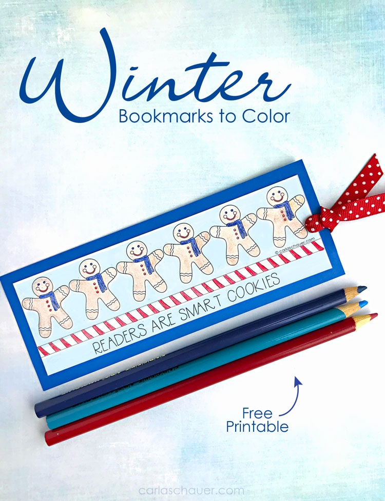 Finished Winter bookmark coloring craft with colored pencils on blue backgound with explanation text.
