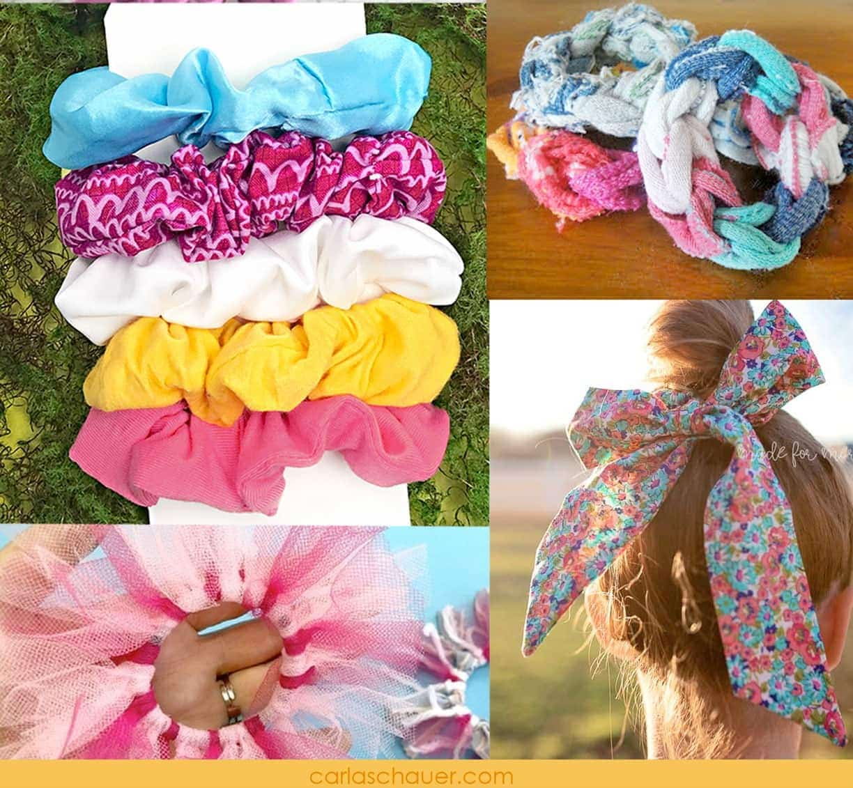 diy scrunchie tutorial photo collage