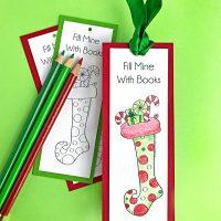 Printable Christmas Bookmarks to Color