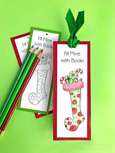 Red and Green stocking bookmark with colored pencils on green background.