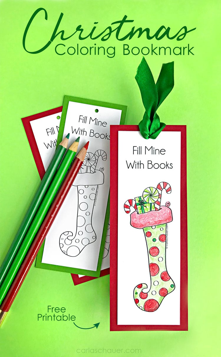 Printable Christmas stocking bookmark bookmarks, both colored and uncolored, on a green background with title text.